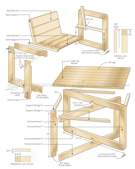 outdoor table and chair plans woodarchivist
