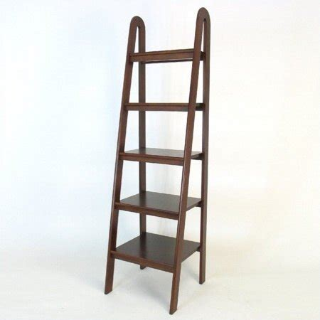 walmart ladder shelf wayborn basswood 5 tier ladder bookcase in brown walmart