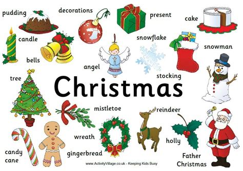 christmas tree decorated whith words vocabulary tesa90