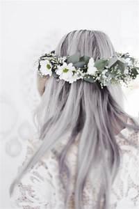 hair fashion flowers c blue hair silver hair flower crown ...