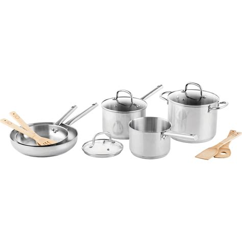 martha stewart collection stainless steel  pc cookware set stainless steel home
