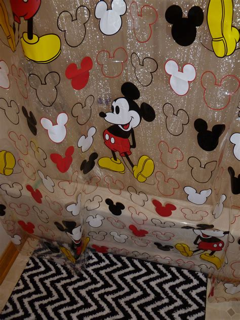 Mickey Mouse shower curtain (Walmart) Black and white zigzag bath mat (JCPenny) #