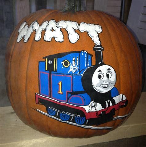 thomas  train pumpkin hand painted pumpkins