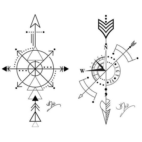 arrow compass tattoos double compassarrow wednesday