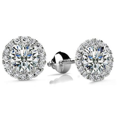ct  cut cubic zirconia stud earrings  screw