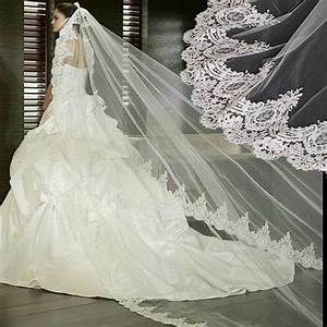 wholesale white ivory wedding veil 3 meters lace long With long veil wedding dresses