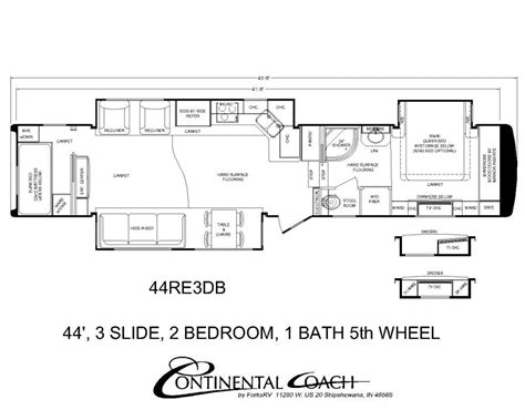 5th Wheels With 2 Bedrooms by Continental Coach 43 Bedroom Floorplans Rv S
