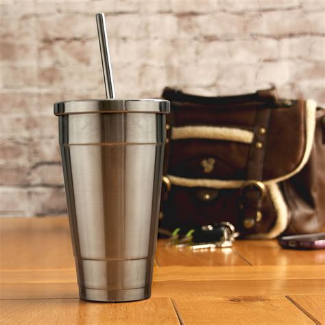 cup straw stainless steel smoothie insulated lid drinkstuff cold 16oz