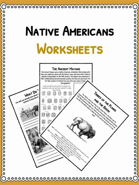 Native American History Facts & Worksheets  Pdf Lesson Resources