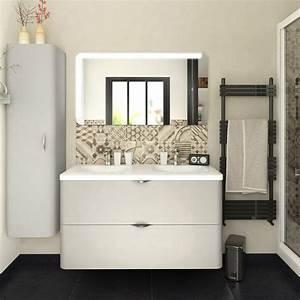 meuble de salle de bains de 100 a 119 blanc beige With meuble salle de bain leroy merlin neo
