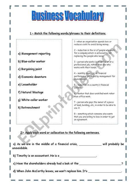 business vocabulary esl worksheet  araquelsp