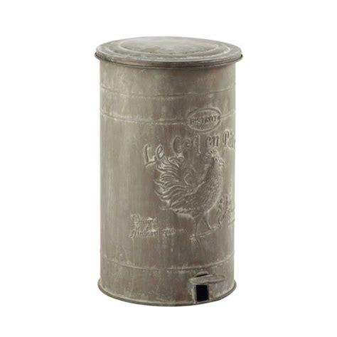 poubelle maison du monde poubelle en m 233 tal effet zinc h 46 cm leontine maisons du