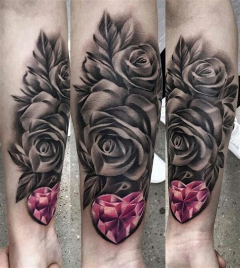pink heart diamond black  white rose tattoo tattoos