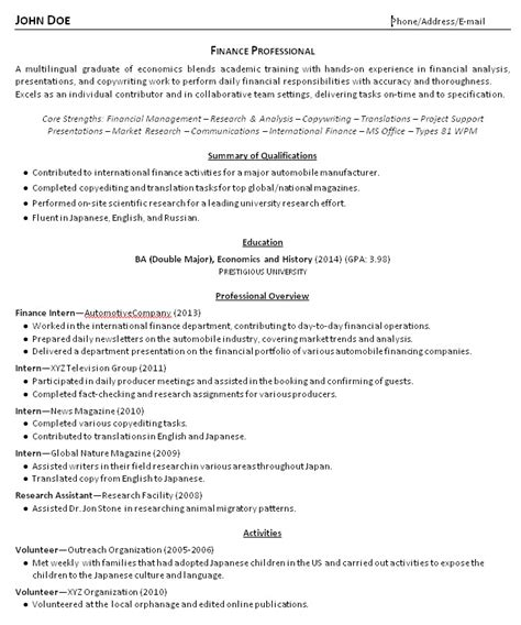 professional resume after college college grad resume exles and advice resume makeover