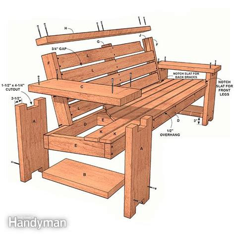perfect patio combo wooden bench plans  built   table  family handyman