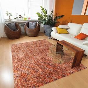 tapis shaggy en polyester design orange chine beige ethno With tapis orange design