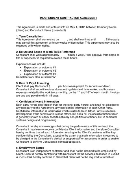Sales Consultant Contract Template by Flevy Sle Consulting Contract
