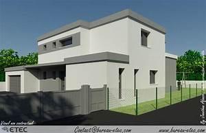 maison toit terrasse chevigny etec With plan de maison moderne 4 maison contemporaine rouvre etec