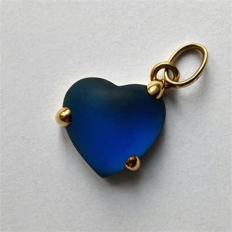 cuore pomellato ciondolo cuore pomellato vintage in oro e vetro