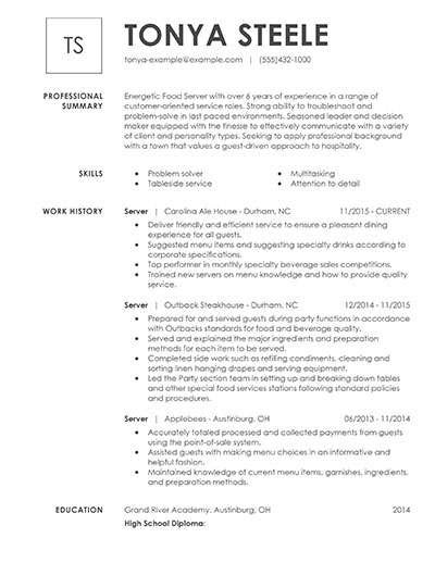 Resume Template For Server Position by Unforgettable Restaurant Server Resume Exles To Stand