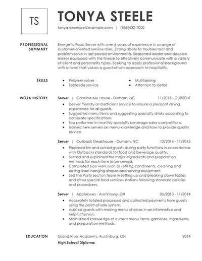 Server Description Resume Sle by Unforgettable Restaurant Server Resume Exles To Stand