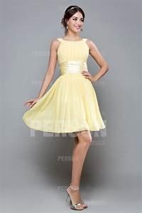 robe cocktail femme courte jaune pastel pour mariage en With robe cocktail jaune