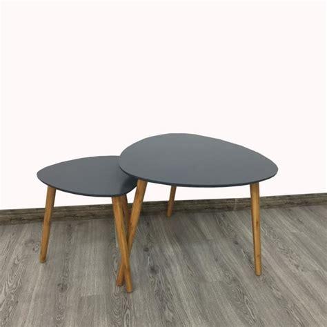 Table Gigogne Scandinave Lot De 2 Tables Basses Gigognes Style Scandinave Grises Achat Vente Table Basse Lot De 2