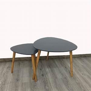 Table Basse Gigogne Scandinave : lot de 2 tables basses gigognes style scandinave grises ~ Voncanada.com Idées de Décoration