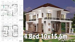 4, Bedroom, Home, Plan, Full, Exterior, And, Interior, 10x15, 6m