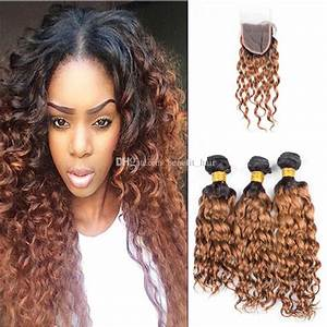 Ombre Color 1b 30 Human Hair Bundles With Lace Closure