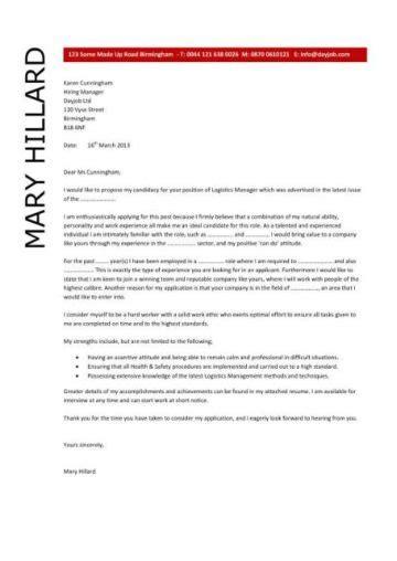 logistics manager cv template  job description