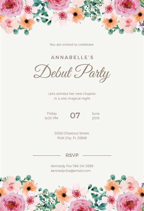 debut invitation template   word  psd format