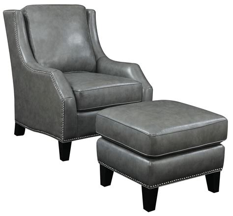 grey bonded leather accent chair with ottoman from coaster