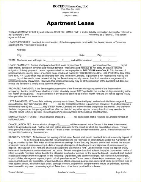 Apartment Lease Agreement Template Business Apartment Lease Agreement Template Business
