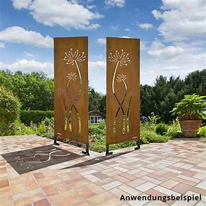 sichtschutz cortenstahl quotblumen trioquot 3 stuck stele With französischer balkon mit feuer deko garten