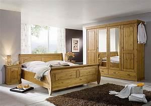 Schlafzimmer Set 4teilig Kiefer Massiv Honigfarben Lackiert