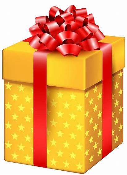 Present Gift Box Clipart Yellow Stars Transparent