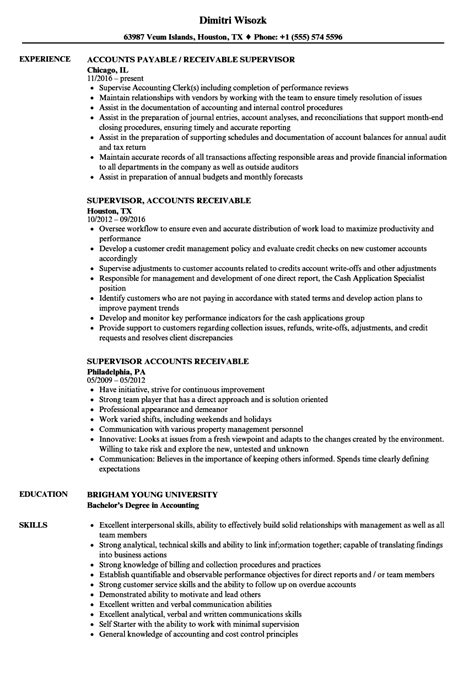 Account Receivable Resume Sle by Supervisor Accounts Receivable Resume Sles Velvet