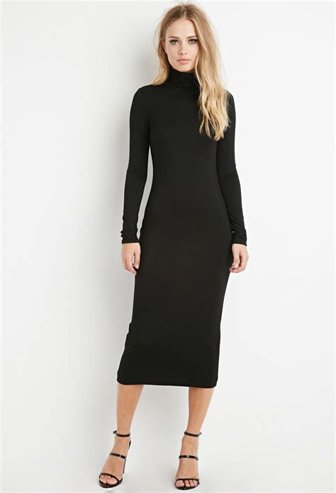 Black turtle neck midi dress - Best Dressed