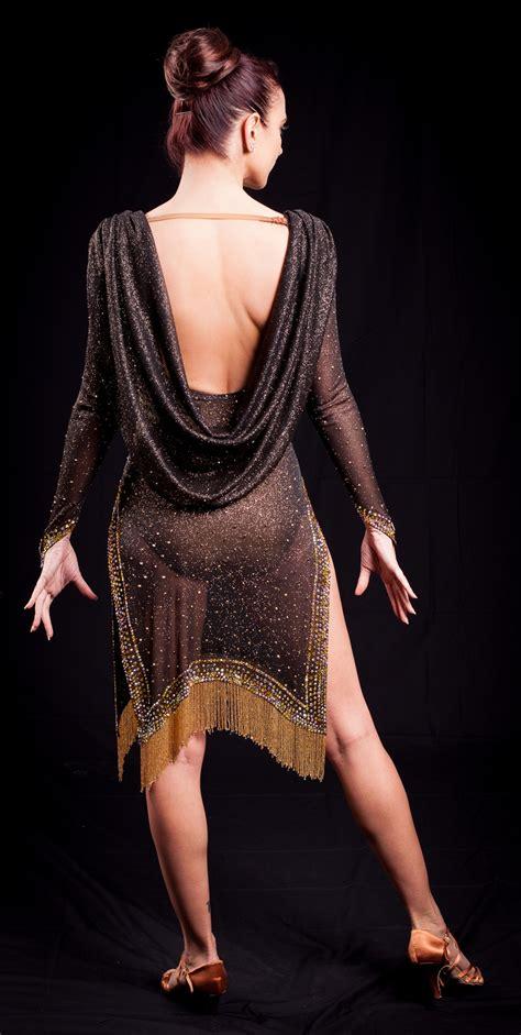 Elegant See Through Beaded Fringe Latin Dress