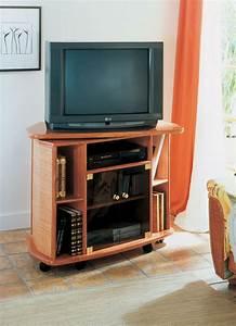 Meuble Tele En Bois : meuble tv pivotant en rotin brin d 39 ouest ~ Melissatoandfro.com Idées de Décoration