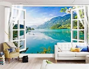 3d landscape fenster fototapeten wandbild fototapete bild With markise balkon mit tapet 3d living