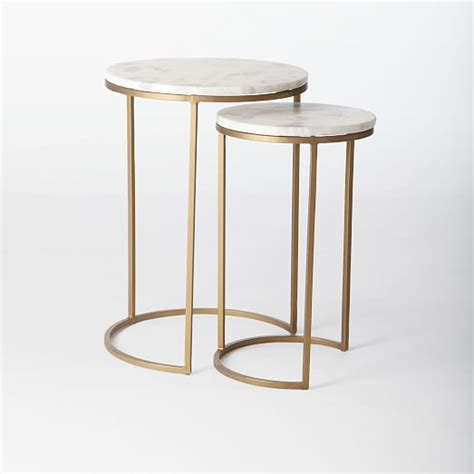 west elm end table round nesting side tables set marble antique brass