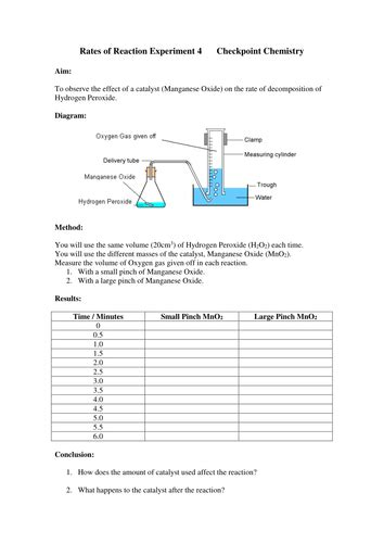 Rates Of Reaction Experiments Worksheets By Missmunchie  Teaching Resources Tes