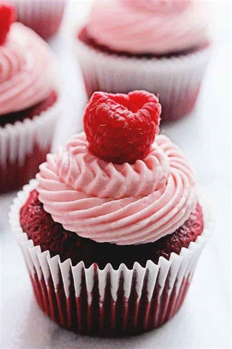 red velvet raspberry cupcakes   baker