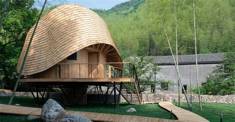 bamboo house    wearing  hat curbed