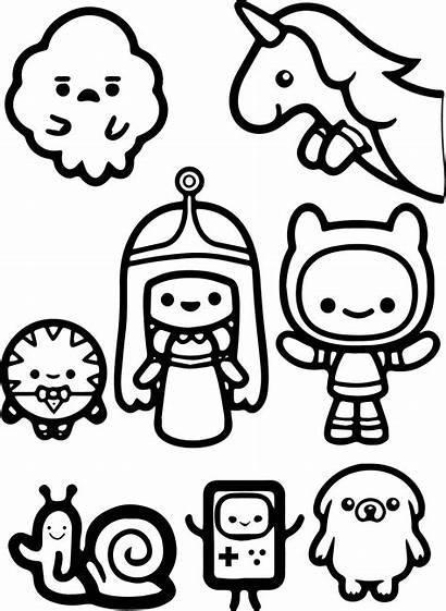 Coloring Adventure Finn Pages Jack Chibi Cartoon