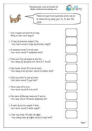 multiplication word problems 3 multiplication maths worksheets for year 2 age 6 7