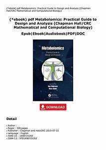 Ebook  Pdf Metabolomics  Practical Guide To Design And Analysis  Chapman By Moksgrees