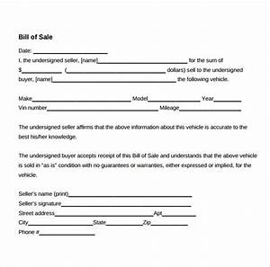 sample used car bill of sale 8 documents in pdf With for sale as is document